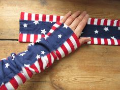 American Flag Inspired Arm Warmers, Upcycled Recycled Refashioned Clothing, 4th of July, American Patriot, Wrist Warmers, Texting Gloves by GarageCoutureClothes on Etsy