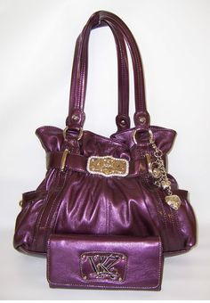 Kathy Van Zeeland Handbag (KVZ, Purple Shopper Handbag With Signature ...