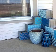 Stencil cinder blocks for a unique corner planter! {Reality Daydream}