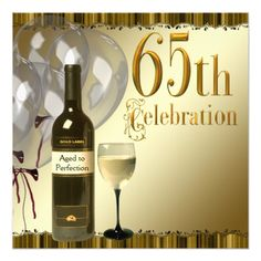 Wine Glass Bottle Gold 65th Birthday Party Card Cards