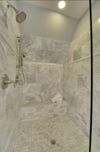 Our master bath tile carrara porcelain tile daltile fl06 for Daltile bathroom tile designs