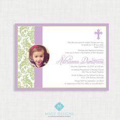 Printable Girl Baptism Invitation  Lavender by MsfitDesigns, $20.00
