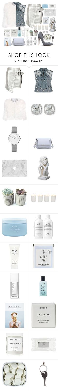 """""""NYFW"""" by themarshmallowmadness ❤ liked on Polyvore featuring River Island, Needle & Thread, Miu Miu, Frederic Sage, Daniel Wellington, NOVICA, Witchery, Aveda, philosophy and Calvin Klein"""