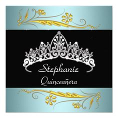 Quinceanera Birthday Party Gold Teal Jewels Invitations Spanish Turquoise