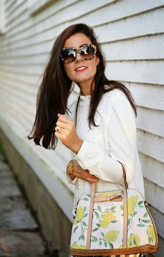 Kate spade lemon print // sweet white sweater // over sized sunnies // blowout