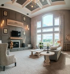 2014 Homefest | Fischer Homes | Wheatland Floorplan | Two-story family room with floor to ceiling windows