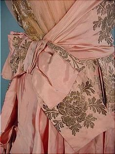 c. 1916 Pink Silk L.P. HOLLANDER  CO. New York Evening Gown with Gold Metallic Printed Design. Hollander  Co. was an elite clothing retailer in the late 19th century with shops in Boston, Newport and Paris. Detail
