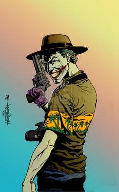 This picture makes me think of Geoff lol it's a shirt he'd wear, and the hat is similar to his ... except, the joker has poor trigger discipline ;) but since when did the Joker give a damn about gun safety?! ha <3