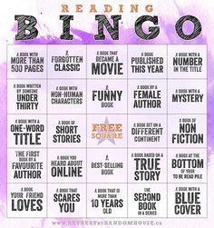 Reading Bingo - Can you blackout the board by the end of the year?