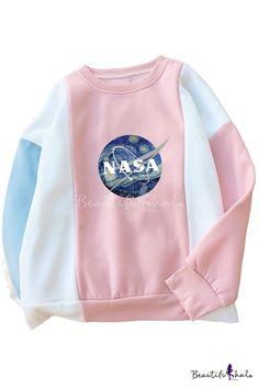 NASA Letter Painting Printed Color Block Round Neck Long Sleeve Sweatshirt - March 23 2019 at Teen Girl Outfits, Outfits For Teens, Cute Outfits, Pull Nasa, Latest Fashion Dresses, Fashion Outfits, Fashion Clothes, Nasa Hoodie, Nasa Clothes