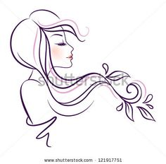 Vector illustration of woman line