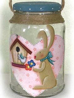 Decoupage, Country Paintings, Snow Globes, Diy And Crafts, Easter, Tin Cans, Sweet, Things To Sell, Decorated Bottles