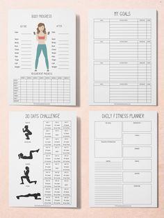 Workout Planner, Fitness Planner, Printable Planner Kit, Workout Tracker Printable – control de peso y pérdida de peso Band Workout, Workout Log, Month Workout, Ab Workout At Home, At Home Workouts, Workout Fitness, Nike Fitness, Free Workout, Workout Women