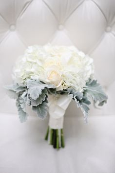 white bouquet: white roses and dusty miller