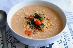 Chipotle Potato Soup with Bell Pepper Salsa by Tasty Yummies, via Flickr. Could make vegan as well.