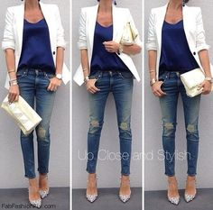 White blazer, skinny ripped jeans and pointed shoes for autumn style.