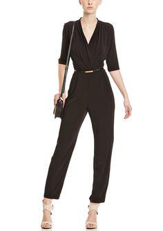 Sandra Darren Elbow Sleeve V-Neck Jumpsuit with Belt