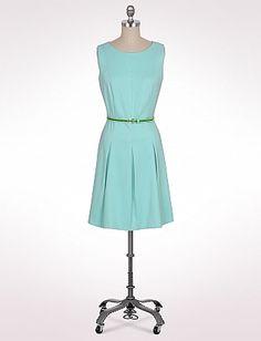 Misses | Dresses | Pleated Contrast Belt Dress | dressbarn