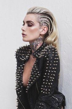 Pastel goth princess gothic rivets black leather jacket spikes tattooed tattoos i … – Gothic Punk Style Look Fashion, Fashion Beauty, Fashion Edgy, Rock Style Fashion, Fashion Make Up, Gothic Fashion, Leather Fashion, Womens Fashion, Faux Hawk Braid