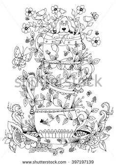 Vector illustration zentangl a stack of cups, a cup of dog Doodles art dudling. Flowers, butterflies, berries, spring. Coloring book anti stress for adults. Black and white.