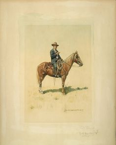 Olaf Carl Seltzer (1877–1957), Charles Russell on Horseback, watercolor, 12 x 8.75 in, JHAA 2011 Sold: $51,750. #western #horse #art