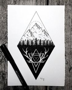 Moutains by wabi. Forest Tattoos, Nature Tattoos, Body Art Tattoos, Wolf Tattoos, Black Tattoos, Magic Symbols, Drawing Expressions, Tattoo Project, Triangle Tattoos
