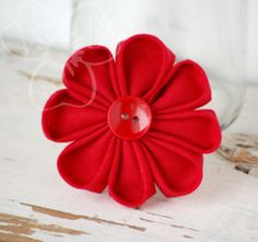 Cherry on Top daisy flower hair clip from VioletsBuds *Handmade in KC member Flower Hair Clips, Flowers In Hair, Red Daisy, Kanzashi Flowers, Handmade Hair Accessories, Cherry On Top, Red Button, Fabric Jewelry, Brighten Your Day