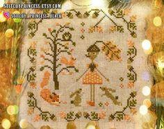 Cross Stitch Alphabet, Cross Stitch Kits, Cross Stitch Designs, Fall Cross Stitch, Cross Stitch Embroidery, Cross Stitch Freebies, Cross Stitch Patterns, Cross Stitch Charts, Little Acorns