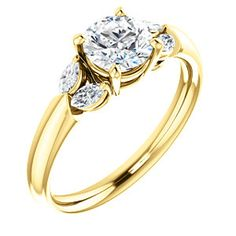 """CALLA style 122316 Marquise """"Leaf"""" Accented Engagement Ring #everandeverbridal"""