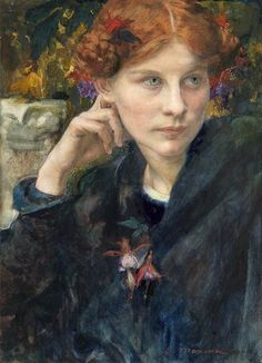'Young Pensive Woman Turned to the Left' - Edgar Maxence  (1871-1954)
