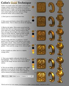 gold tutorial - this same technique can be used when painting on fondant... getting your gold hues right.