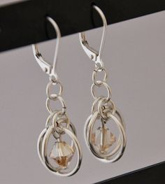 Silver Plated and Light Peach Swarovski Crystal Chainmaille Earrings - Sputnik - Chainmaille Jewellery