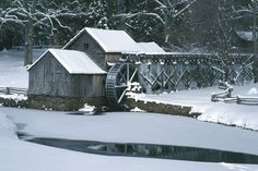 Wintertime photo of Mabry Mill, which is located on The Blue Ridge Parkway in Virginia, USA.