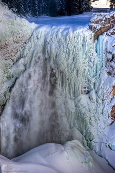 Yellowstone Falls in Winter, Yellowstone National Park, Park County, Wyoming, USA