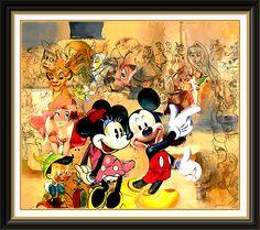 Disney art; Mickey and Minnie www.mydisneylove.com