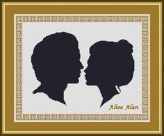 Cross Stitch Pattern Silhouette He and She profile от HallStitch