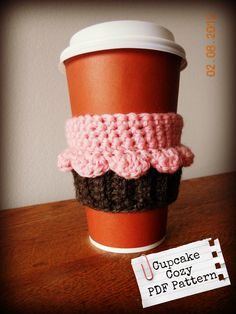 Cupcake Coffee/Tea Cup Cozy - Crochet Pattern pdf. $3.00, via Etsy.