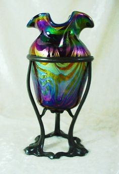 Antique Bohemian Art Nouveau Art Glass Rindskopf Vase & Stand Art Nouveau, Perfume, Bohemian Art, Carnival Glass, Vintage Outfits, Vintage Clothing, Colored Glass, Bing Images, Stained Glass