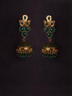 Green beaded Golden Jhumki