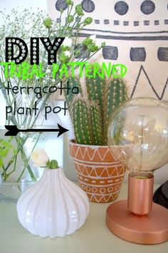 nostalgiecat: DIY tribal patterned terracotta plant pot