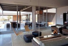 Architecture, Interior Living Room Chair Sofa Fur Rug Cofee Table Pendant Lamp Large Window Pane Glass Door Dining Table Ceiling Lamp Open Space: Astonishing Prototype Prefab Home In The Californian Desert