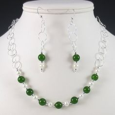 Jade and Pearl Necklace and Earrings Set    #fashion #jewelry #jade #pearl #necklace #earring #set