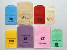typology bag money bank vintage antique emphemera british collection