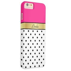Shop Custom Name Hot Pink Fuchsia White Black PolkaDots Case-Mate iPhone Case created by eprocentteam. New Iphone 6, Iphone 6 Cases, Iphone 6 Plus Case, Iphone 6 Accessories, New Gadgets, Plastic Case, 6s Plus, Hot Pink, Polka Dots