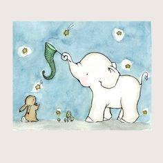 Catch A Falling Star Elephant and Bunny 8x10 por trafalgarssquare
