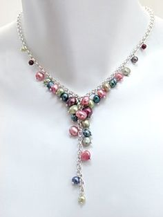 Pink, Green, Plum and Peacock Mixed Freshwater Pearl Cascade