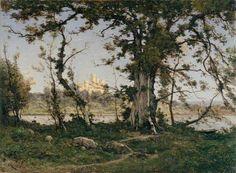 Harpignies, Henri, (1819-1916), The Castle of Clisson, 1895, Oil