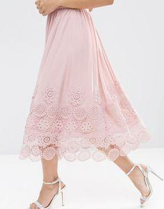 Imagen 3 de Vestido a media pierna con bajo de encaje de guipur y carreras de ASOS Premium