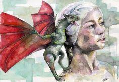 Khaleesi  Print from Original Watercolor by TheColorfulCatStudio, $25.00