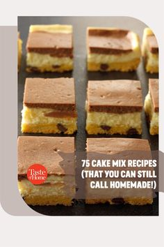 These great cake mix recipes use the store-bought mix as an ingredient, not an end point. Your gorgeous dessert will still be distinctive and delicious—and look nothing like the photo on the box. Cake Mix Recipes, Bar Recipes, Home Recipes, Taste Of Home, Dessert Bars, Recipe Using, Homemade, Canning, Store